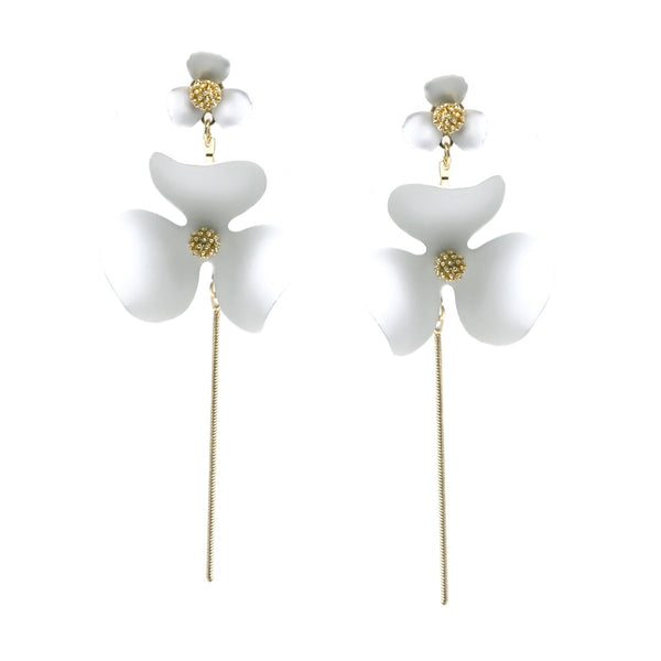 Drop Stem Flower Earrings