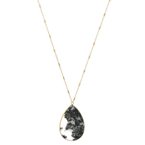 Faux Marble Tear Drop Pendant Necklace
