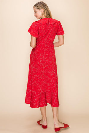Polka Dot Ruffle Wrap Dress