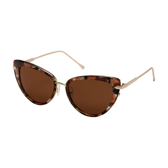 Gold Trimmed Cat Eye Tortoise Sunglasses
