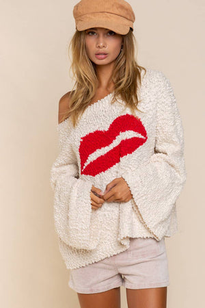 Lips Cozy Wide Sleeve Sweater