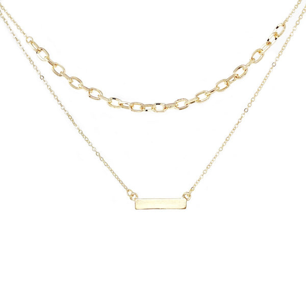 Chain & Plate Layered Necklace