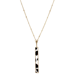 Faux Animal Skin Bar Necklace