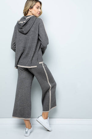 Wool Knit Wide Cropped Pants