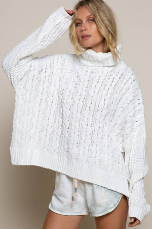 Super Soft Oversized CableKnit Turtleneck