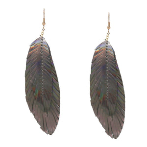 Iridescent Layered Leaves Earrings