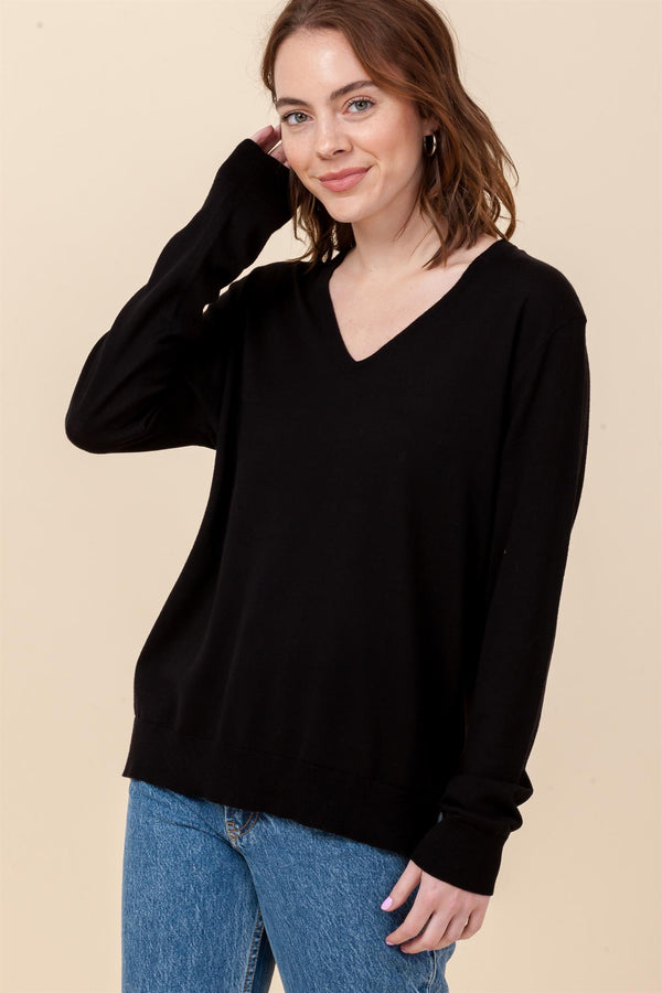 Basic Vneck Boyfriend Sweater