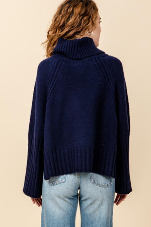 Turtle Neck Wide Sleeve Knit Top