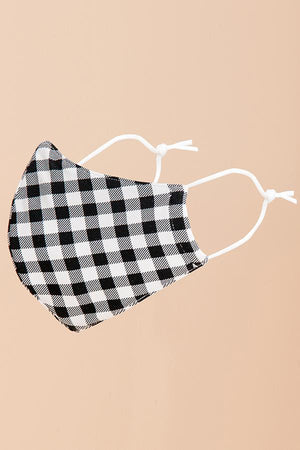 B&W Gingham Fashion Mask (Washable)