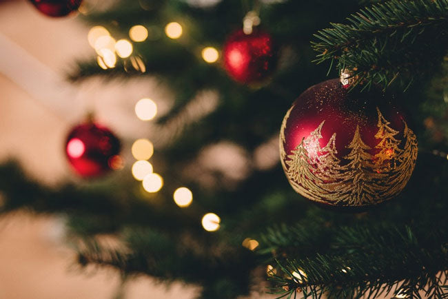 close up of christmas tree and decorations