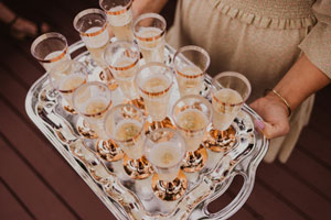 Metal tray with festive holiday drinks