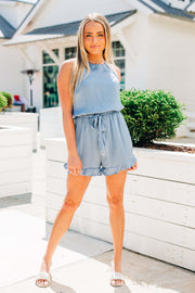 It's a Date Romper: Dusty Blue
