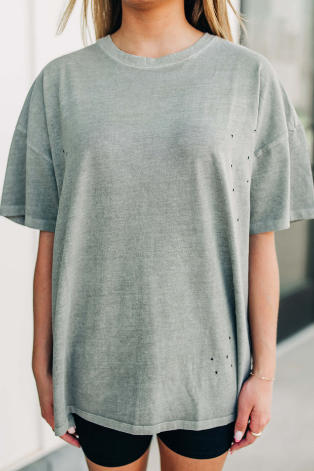 Not Your Boyfriends Tee: Smoke Olive