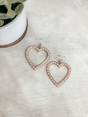 Pearl Heart Dangle Earrings - Shop Amour Boutique Online