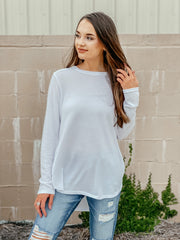 Go with the Flow Knit Top: White