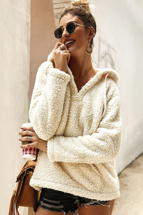 Soft and Fuzzy Hooded Pullover: Cream