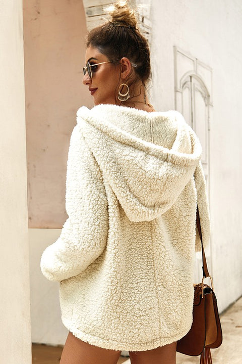 Soft and Fuzzy Hooded Pullover: Cream - Shop Amour Boutique Online