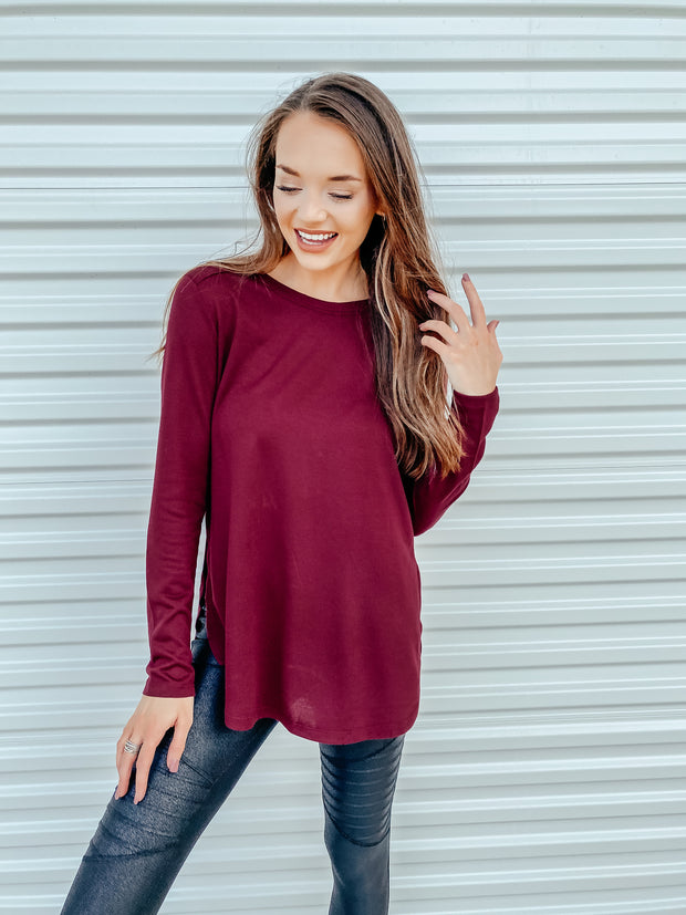 Go with the Flow Knit Top: Burgundy