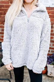 Cozy and Soft Sherpa Pullover: Light Grey - Shop Amour Boutique Online