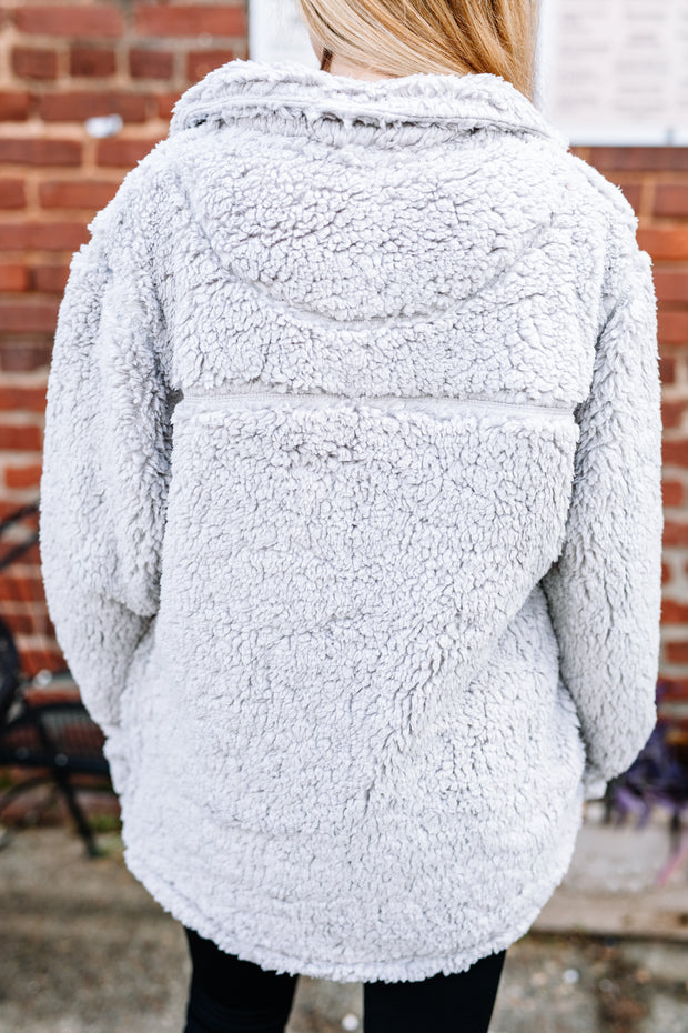 Cozy and Soft Sherpa Pullover: Light Grey - Shop Women dresses, Women essentials, tops, bottoms, shoes & more..
