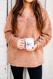 Cozy and Soft Sherpa Pullover: Egg Shell - Shop Amour Boutique Online