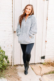 Cozy & Soft Sherpa Pullover: Heather Grey - Shop Amour Boutique Online