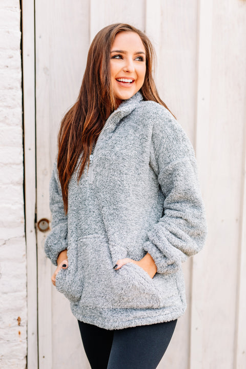 Cozy & Soft Sherpa Pullover: Heather Grey
