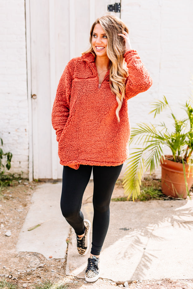 Cozy and Soft Sherpa Pullover: Dark Rust - Shop Women dresses, Women essentials, tops, bottoms, shoes & more..