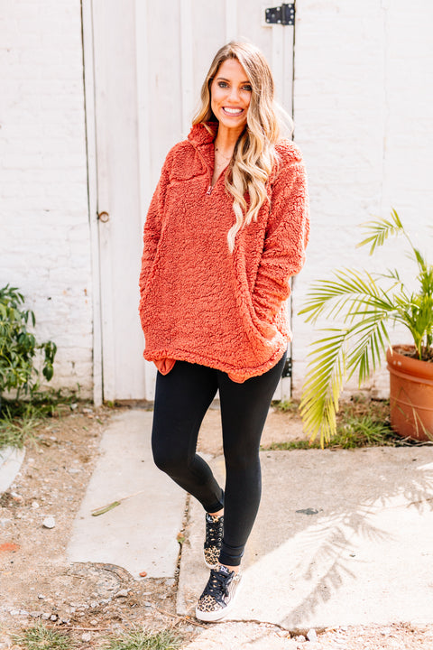 Cozy and Soft Sherpa Pullover: Dark Rust - Shop Amour Boutique Online