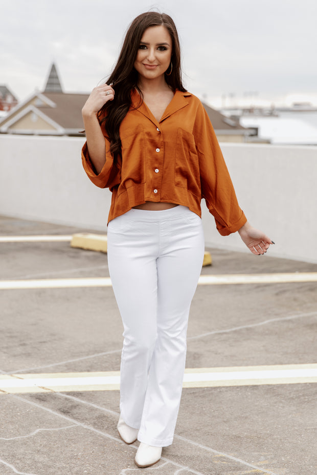 Cello Elastic Waist White Denim Flares - Shop Amour Boutique Online