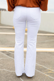 Cello Elastic Waist White Denim Flares