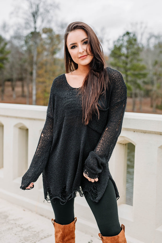 Here for the Good Times Sweater: Black