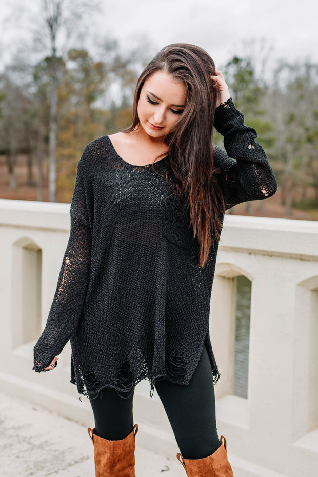 Here for the Good Times Sweater: Black - Shop Amour Boutique Online
