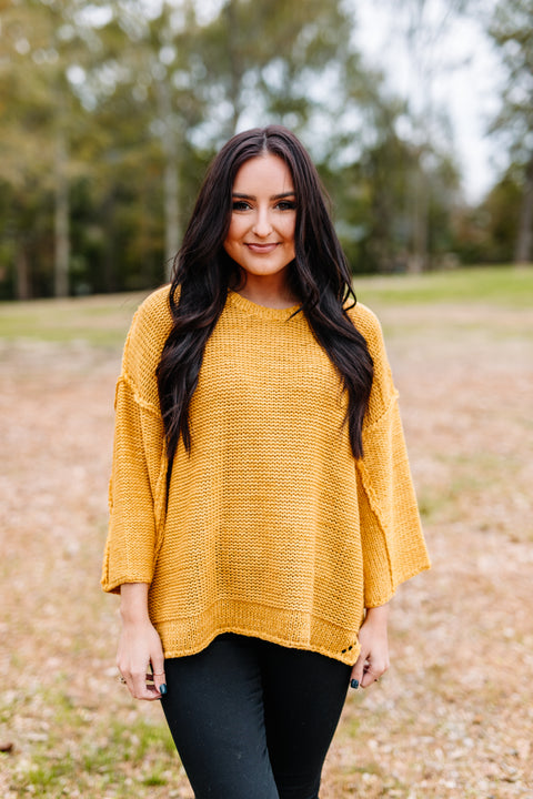 Be Mine Mustard Oversized Sweater - Shop Amour Boutique Online