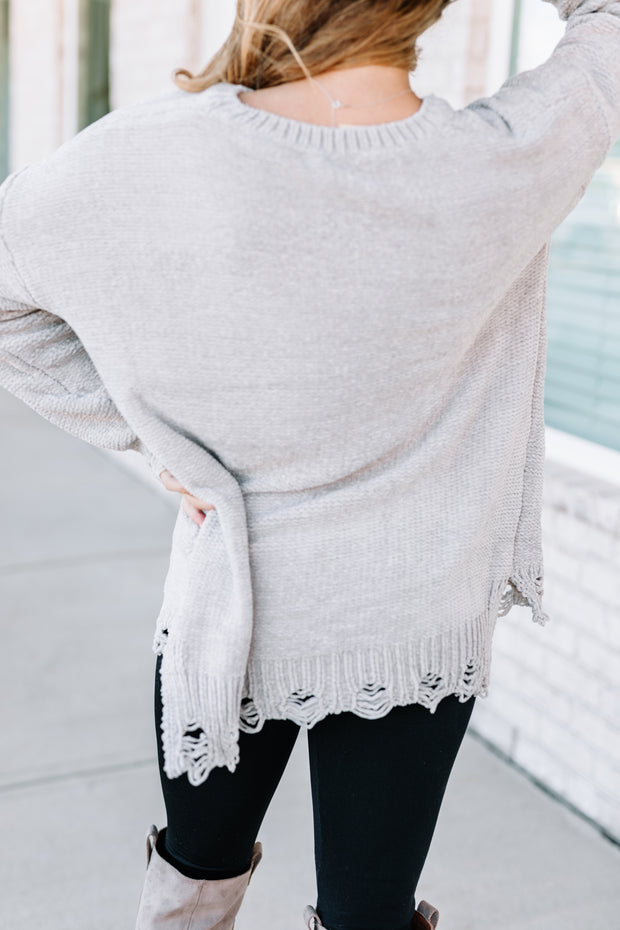All I Want Distressed Sweater: Pigeon - Shop Amour Boutique Online