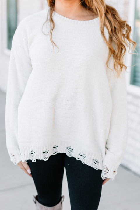 All I want Distressed Sweater: Cream - Shop Amour Boutique Online