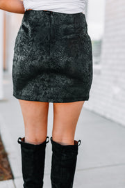 Crazy in Love Snake Print Skirt: Black - Shop Amour Boutique Online