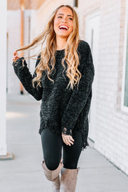 All I Want Distressed Sweater: Black - Shop Amour Boutique Online