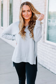 Waffle Knit Thermal Tee: Light Grey - Shop Amour Boutique Online