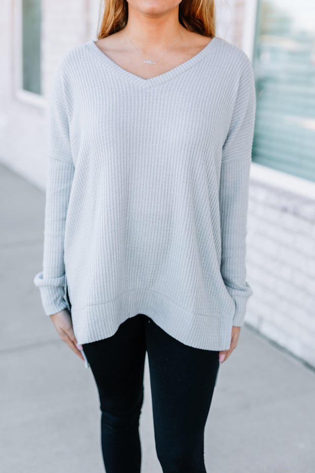 Waffle Knit Thermal Tee: Light Grey