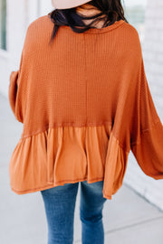 Anything but Basic Waffle Top: Rust - Shop Amour Boutique Online