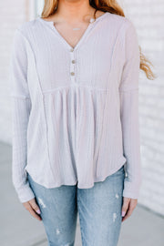 Buttons and Waffle Top - Shop Amour Boutique Online