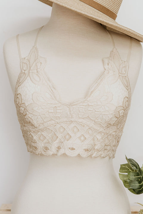 Lace Bralette: Cream - Shop Women dresses, Women essentials, tops, bottoms, shoes & more..