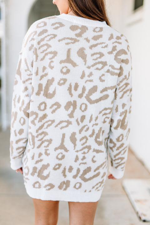 Love for Leopard Sweater Dress/Tunic: Beige