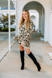 Love for Leopard Sweater Dress/Tunic: Black