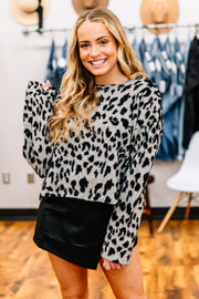 Leopard Fun Knit Top - Shop Amour Boutique Online