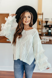 Fringe-tastic Sweater: Off White