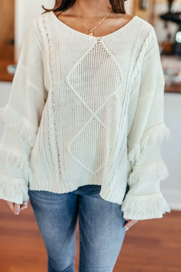 Fringe-tastic Sweater: Off White - Shop Amour Boutique Online