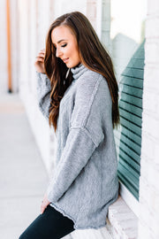 Warms my Heart Mock neck Sweater: Grey - Shop Amour Boutique Online