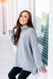 Warms my Heart Mock neck Sweater: Grey